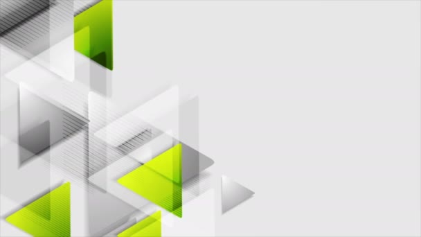 Green grey triangles tech abstract video animation