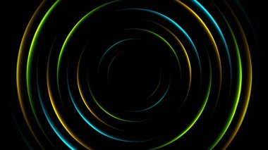 Colorful neon glowing circles abstract background