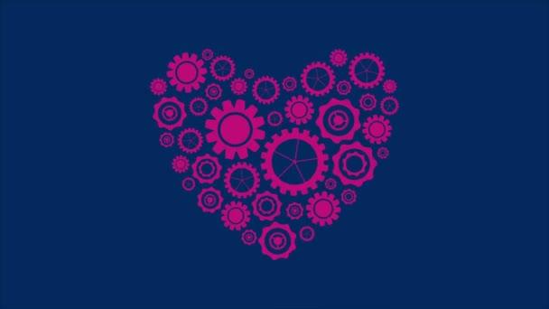 Lila szív alakú Tech Gears videó animáció