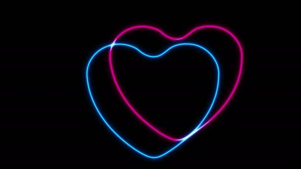 Izzó neon kék és rózsaszín szívek video animáció