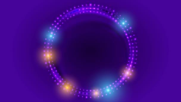 Neon LED fények absztrakt lila körök video animáció