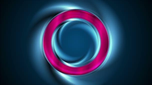 Izzó neon fényes gyűrű absztrakt videó animáció
