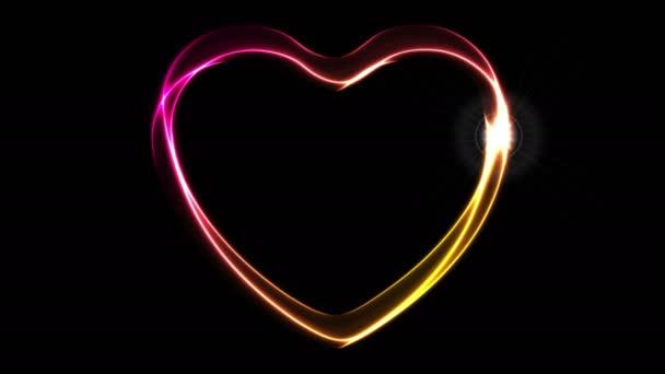 Izzó neon narancs lila szív videó animáció