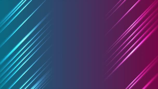 Modrý fialový zářící neonové čáry abstraktní video animace