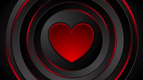 Roter Herzschlag und glühende Kreise Videoanimation