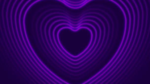 Neon lila izzó lézer szív alakú videó animáció
