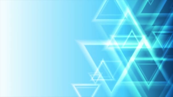 Bright blue abstract triangles geometric video animation