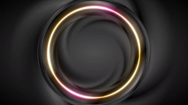 Fekete és világos neon kör alakú videoanimáció