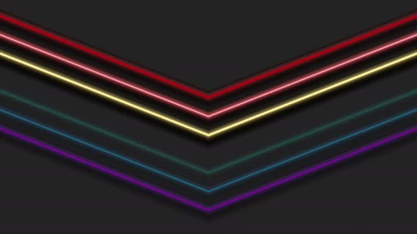 Colorful rainbow neon arrows abstract video animation