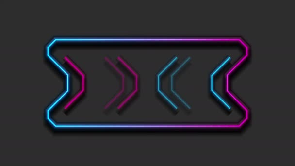 Neon frame with arrows sign tech video animation