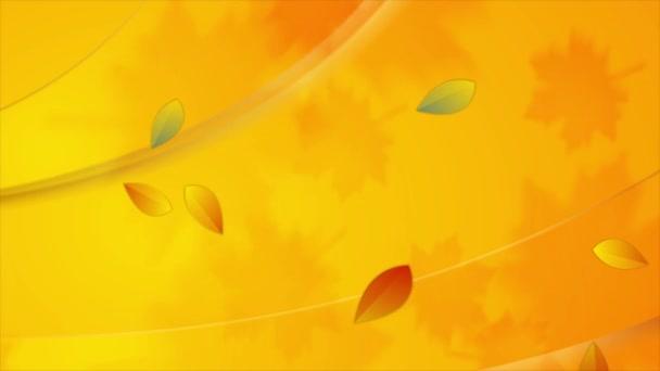 Élénk narancs őszi videó animáció lehulló levelekkel