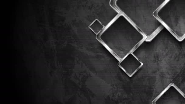 Hi-tech sötét grunge geometrikus mozgás design ezüst négyzetek