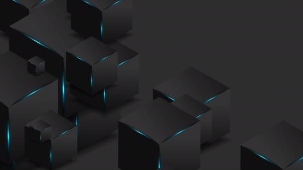 Abstraktní černé 3D kostky s modrými zářícími světly pohybový design