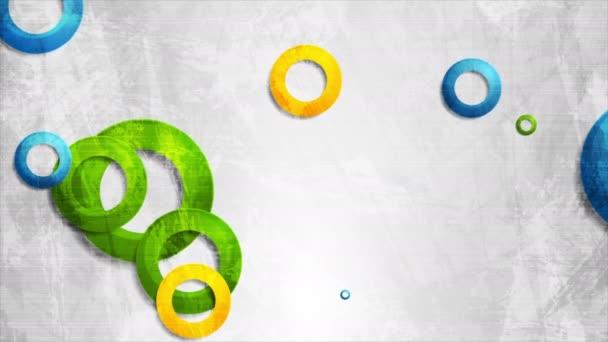 Színes kör gyűrűk szürke grunge háttér videó animáció