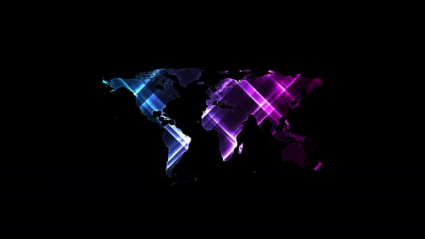Bright glowing neon abstract world map on night