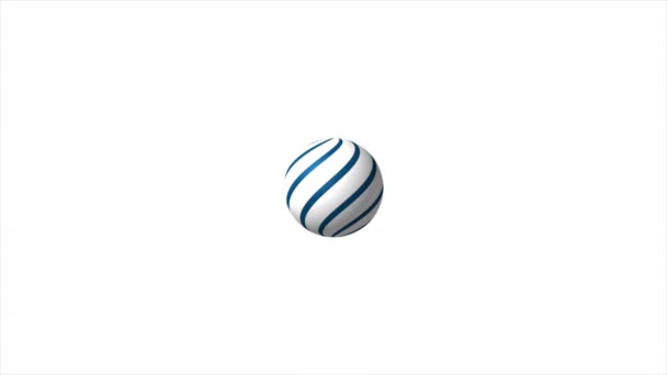 Abstract white 3d rotating sphere with blue stripes video animation