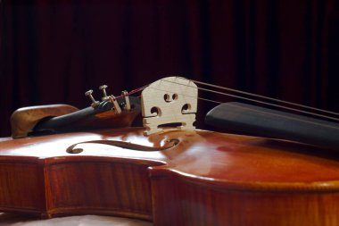 violin background with dark curtains. musical backdrop with wooden classical acoustic instrument part