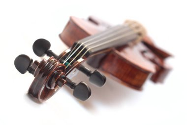 violin on white, neck details