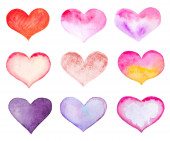 set of watercolor hearts isolated on white.