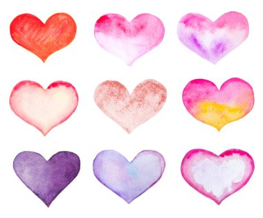 Set of watercolor hearts isolated on white. stock vector