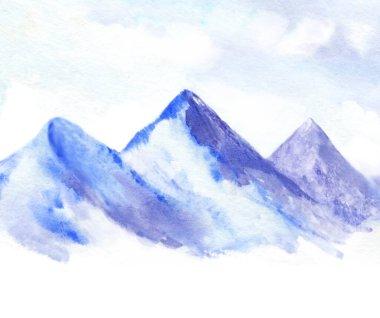 """Картина, постер, плакат, фотообои """"акварельная иллюстрация голубых гор и облачного неба. снежный горный фон с белым пространством лес цветы водопады"""", артикул 410421782"""