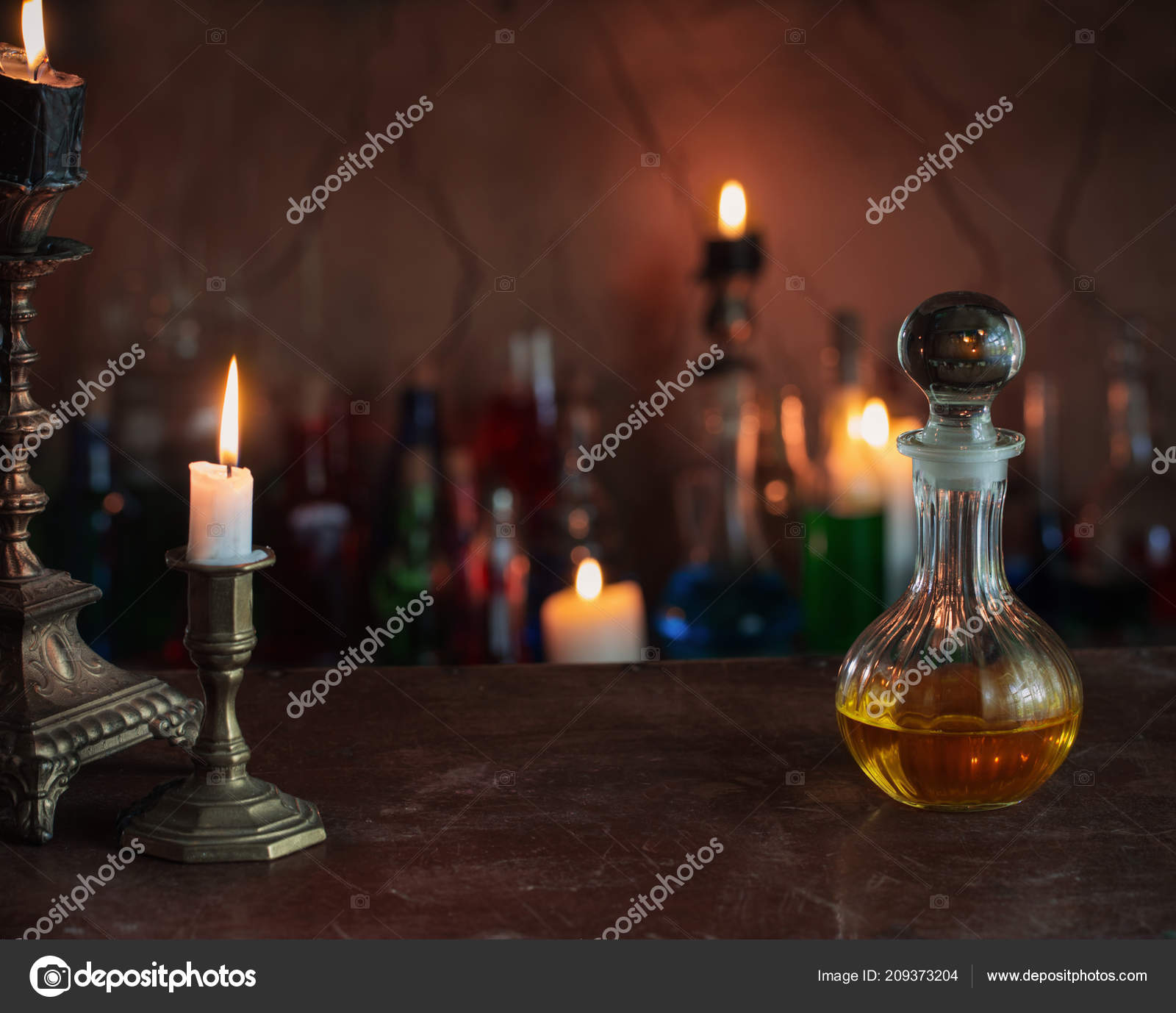 Magic Potion Ancient Books Candles Dark Background — Stock
