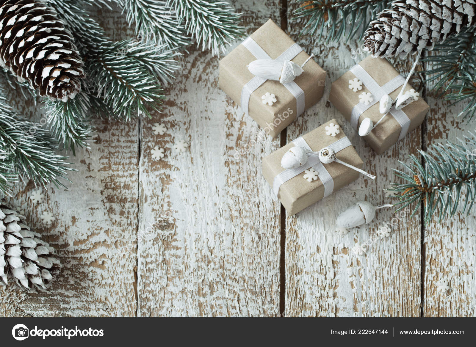 Christmas Gifts Old White Wooden Background — Stock Photo ...