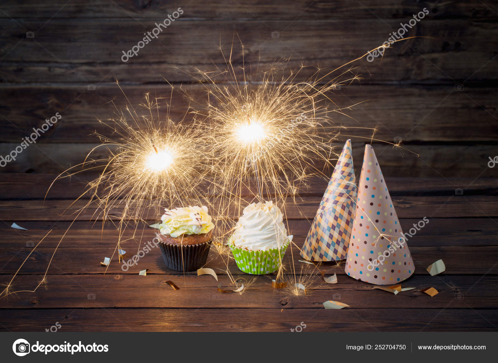 Fabulous Birthday Cake With Sparkler On Old Wooden Background Stock Photo Funny Birthday Cards Online Inifodamsfinfo
