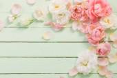 růžové a bílé růže na zeleném dřevěném pozadí