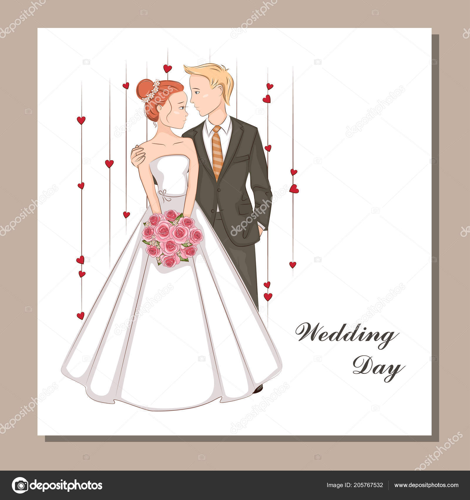 Wedding Invitation Bride Groom Stock Vector C Sivanova 205767532