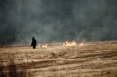 sloping field and a man sets fire to dry grass