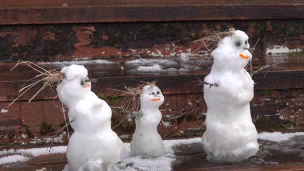 Jarní historie rodiny sněhuláků
