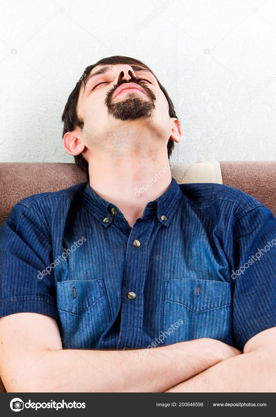 Tired Man Sit Sleep Sofa Home U2014 Stock Photo