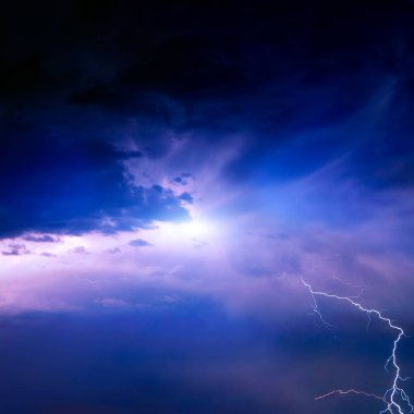 Lightning in the Dark and Dramatic Storm Clouds