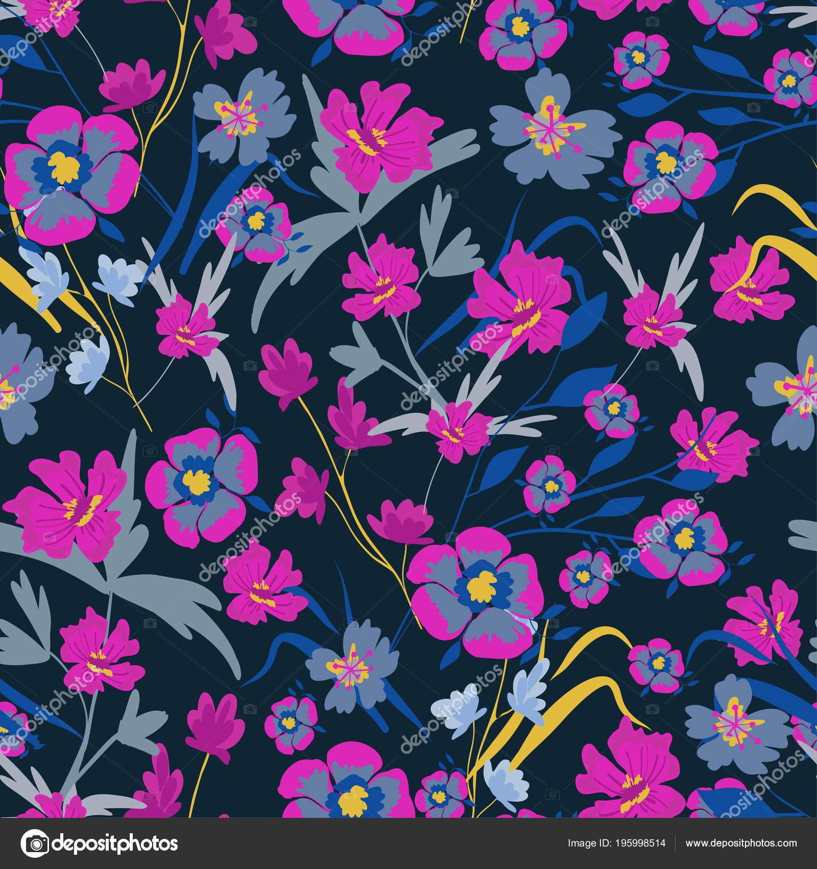 Seamless Pattern Small Flowers Dark Background Modern Fashionable