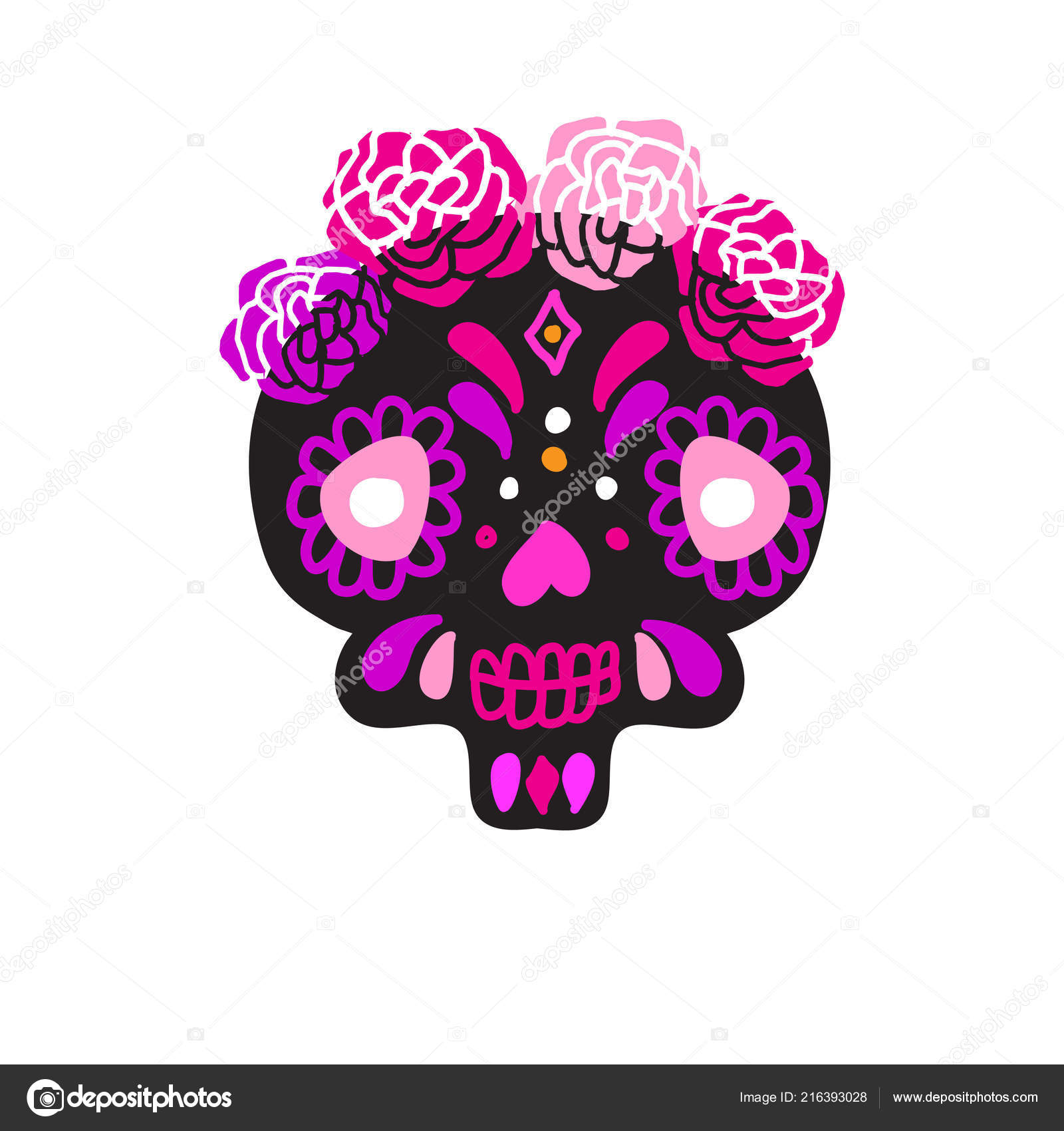 Purple Sugar Skull Wallpaper Colorful Pink Violet Black Mexican
