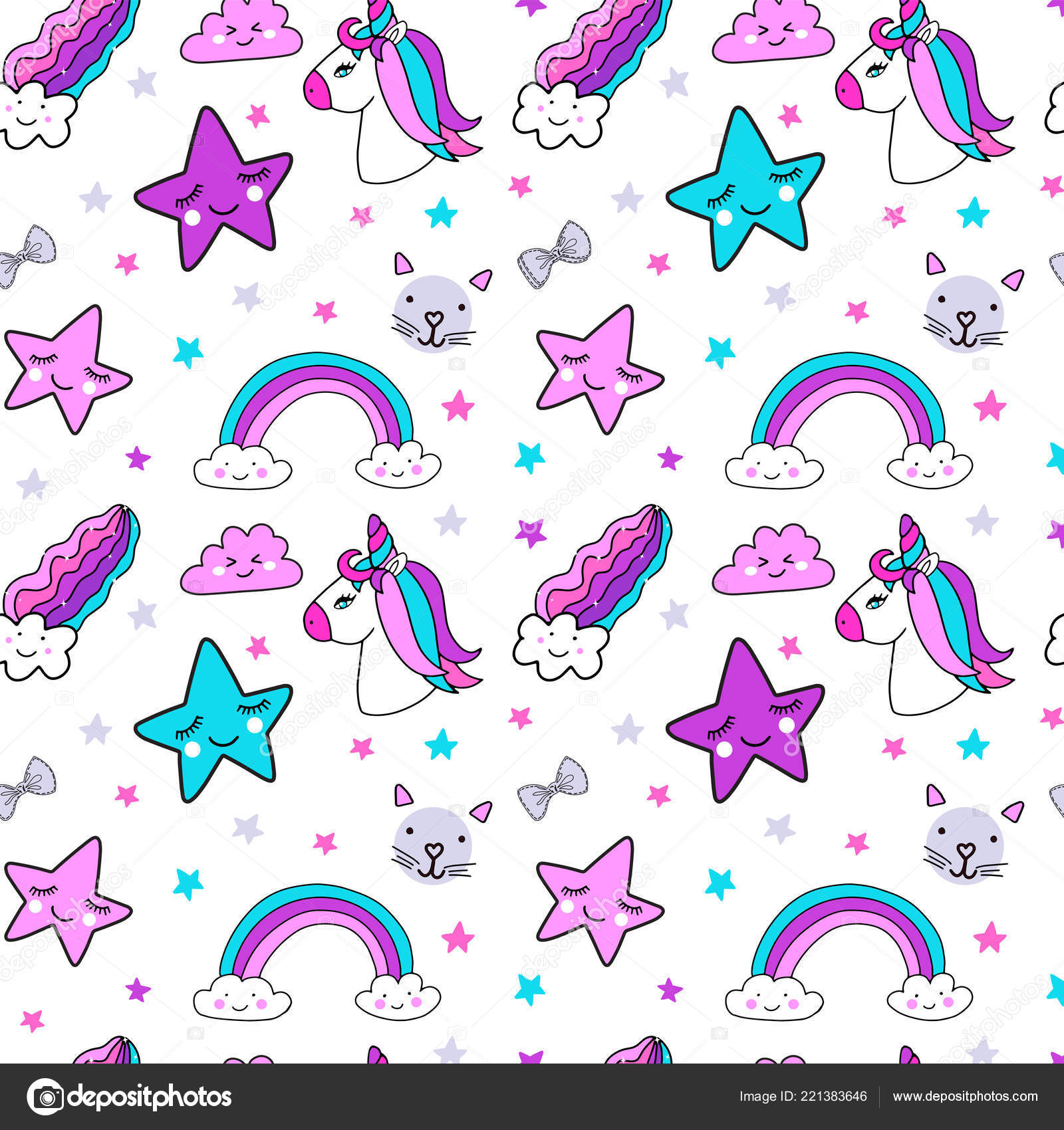 Cute bright colors unicorn and girly elements stars, rainbow, cats and bows seamless pattern background.