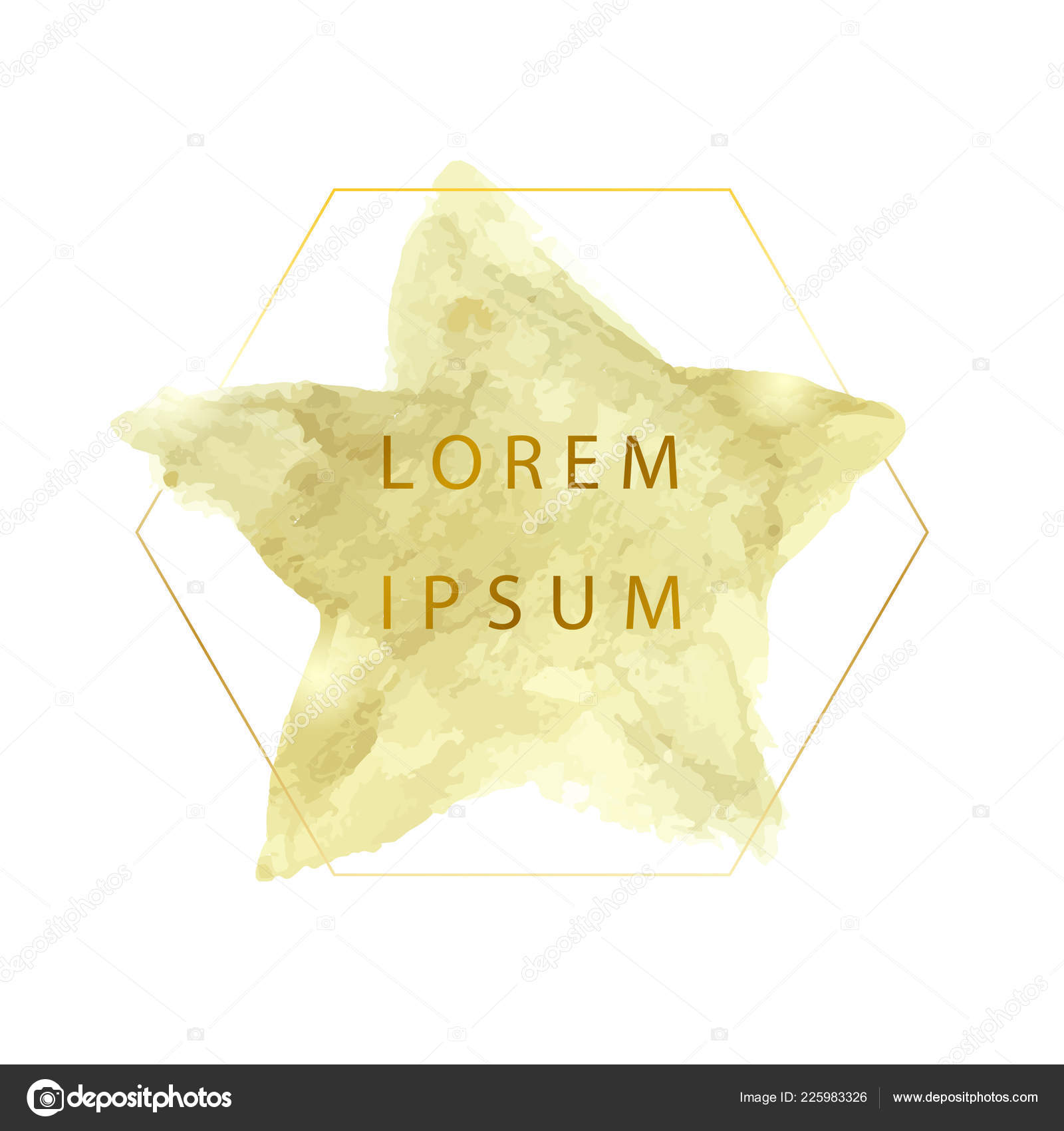 Gold Acrylic Paint Star Vector Illustration Abstract Frame Place