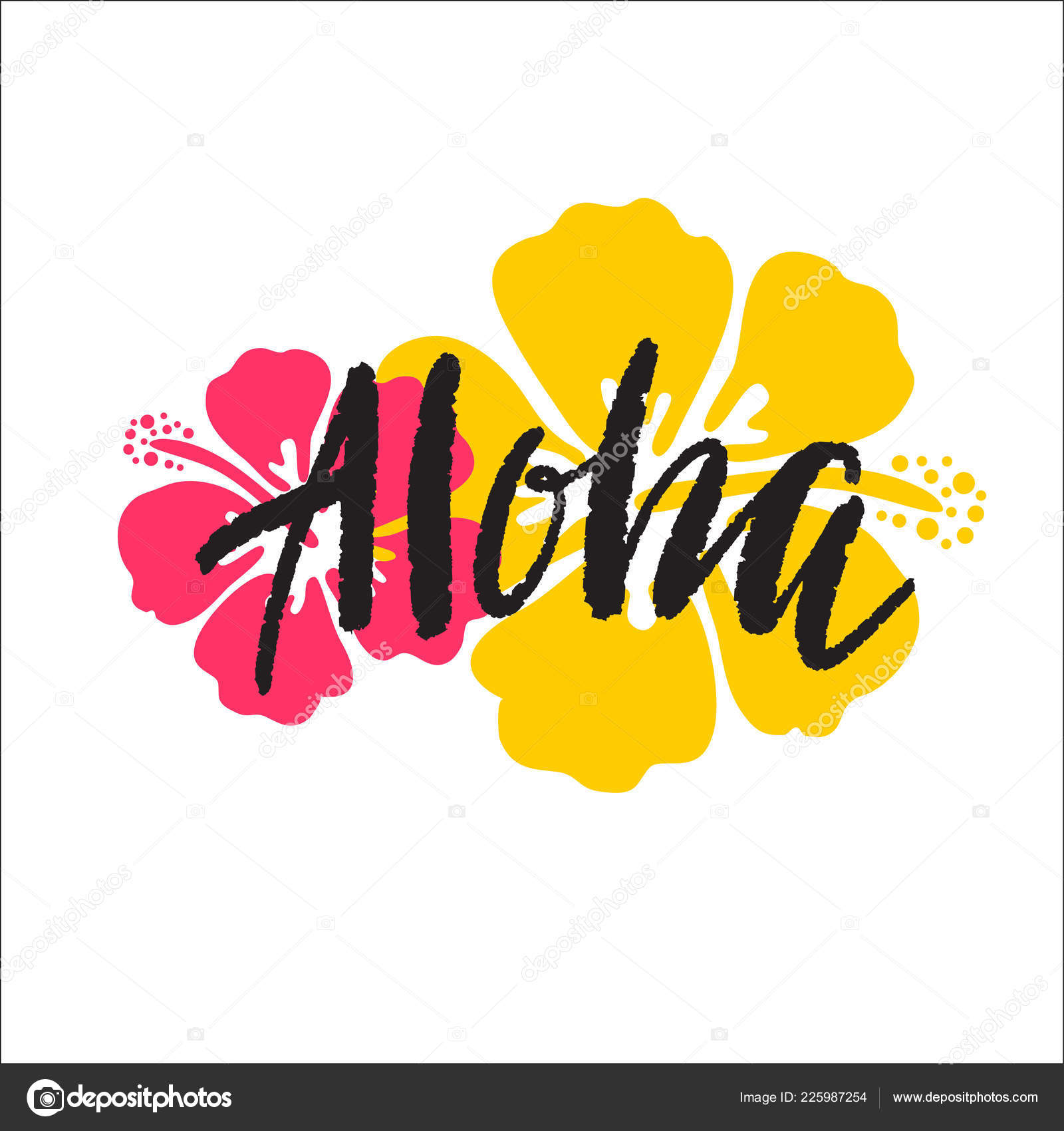 Aloha Lettering Vector Illustration Hibiscus Print — Stock Vector