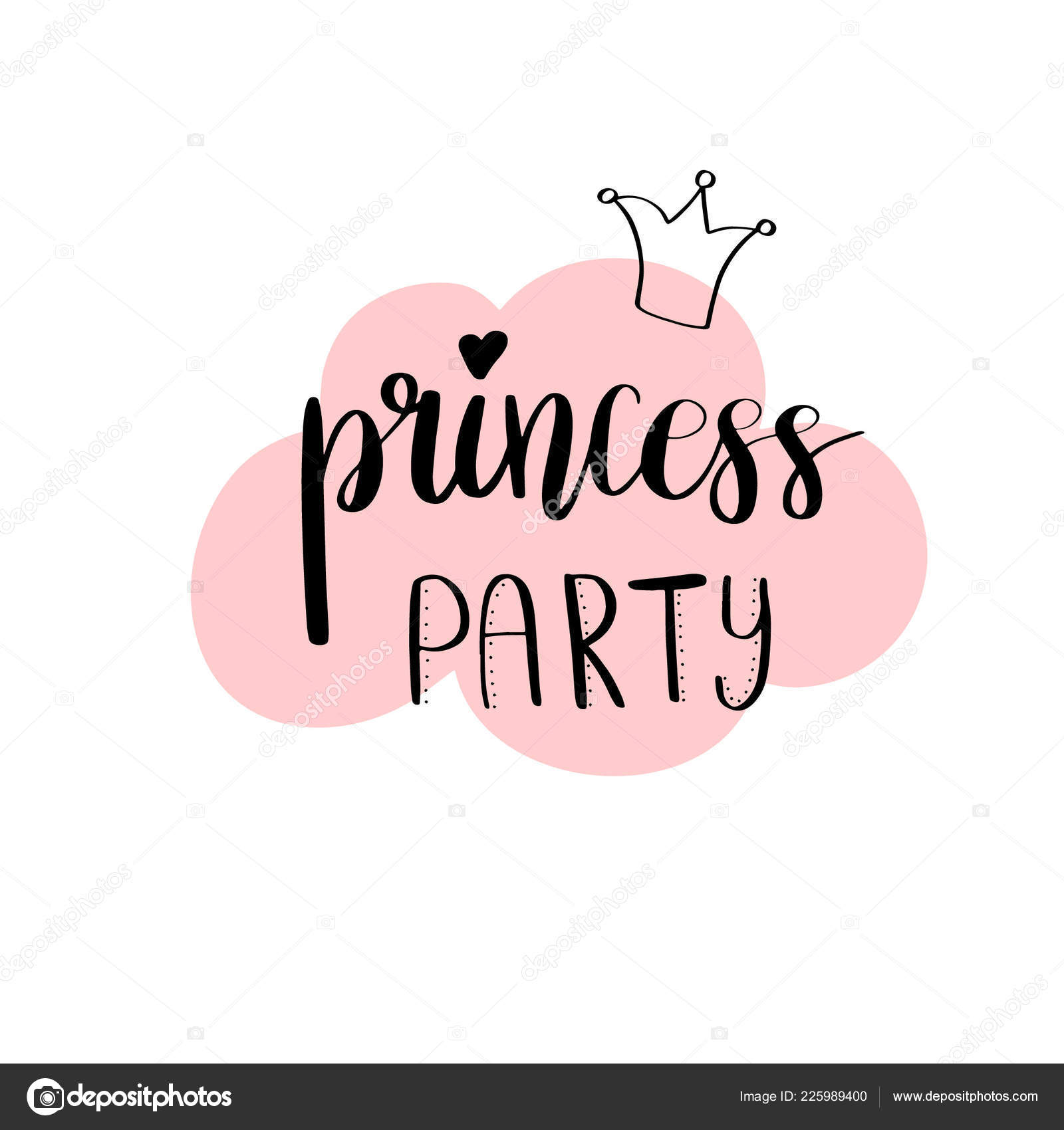 princess party bridal shower card design birthday girl lettering quote stock vector