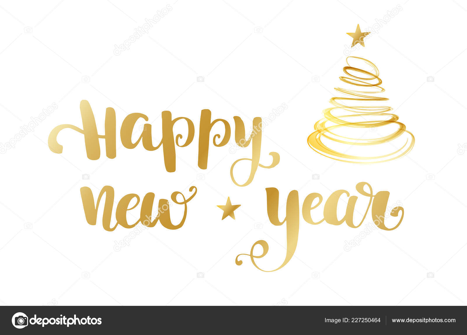 gold happy new year brush lettering text on white background stock vector