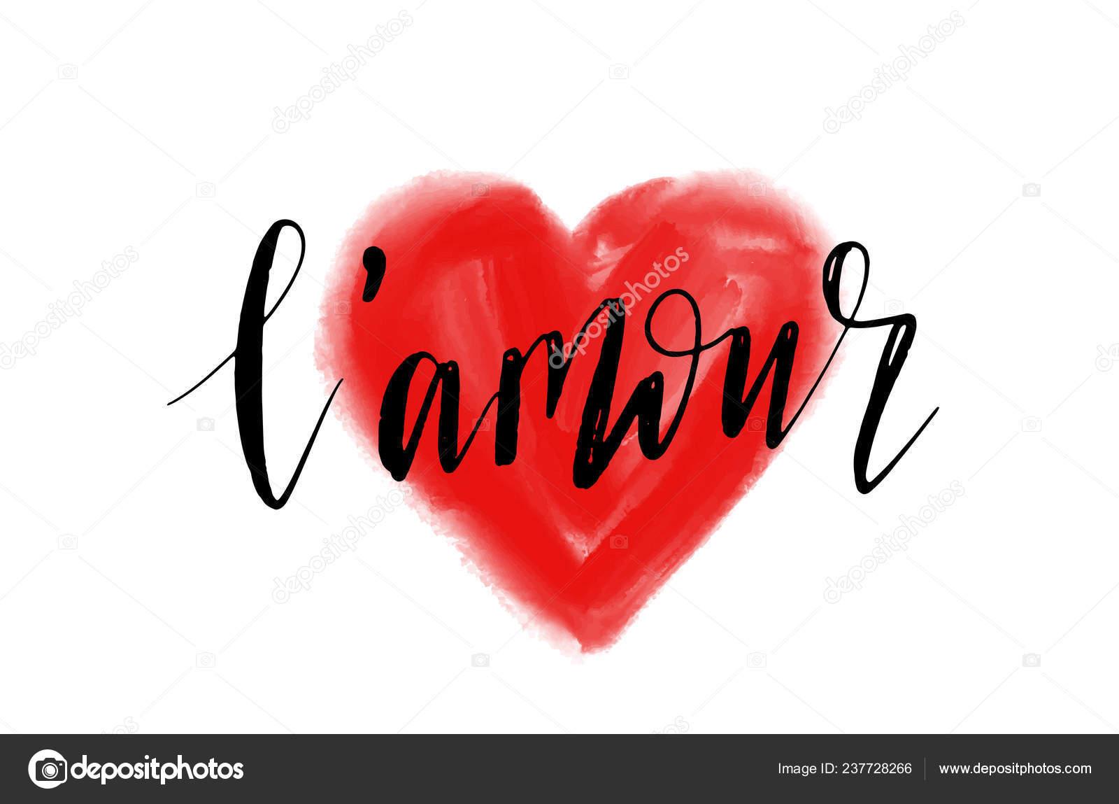 Diseño Tarjeta Amour Letras Palabra Amor Francés Cepillo