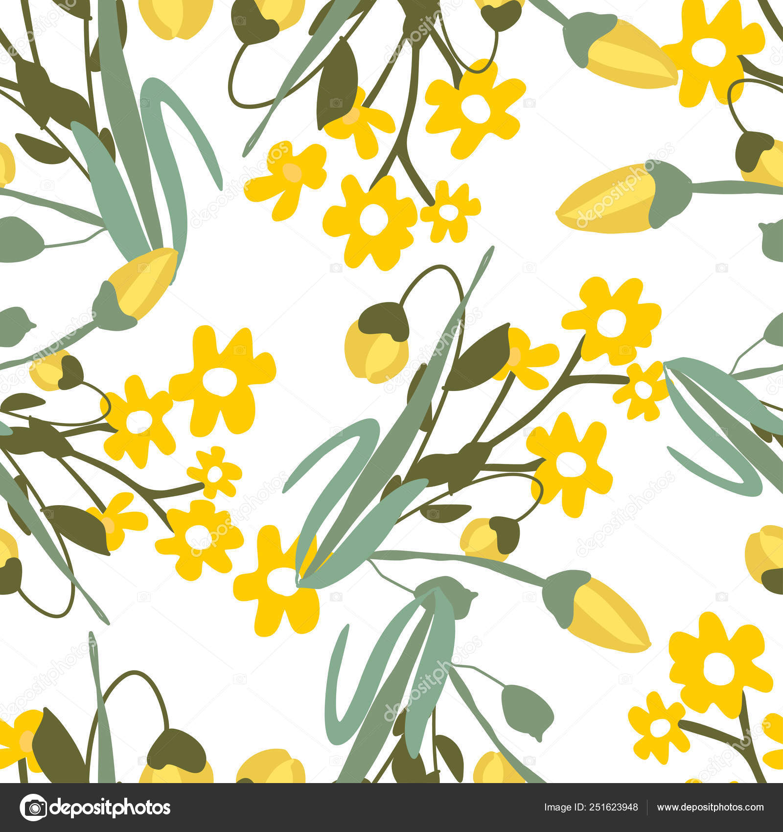 Seamless Pattern With Small Flowers On Background Modern And