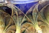 Fotografia Resti della sala del capitolo, con due ali di archi che riposa su sporgenti capitelli dorici e colonne nel convento di Santa Maria de Aguiar, vicino il villaggio storico di Castelo Rodrigo, Portogallo