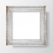 Négyzet üres pelyhes favázas fehér falon. Vektor sablon