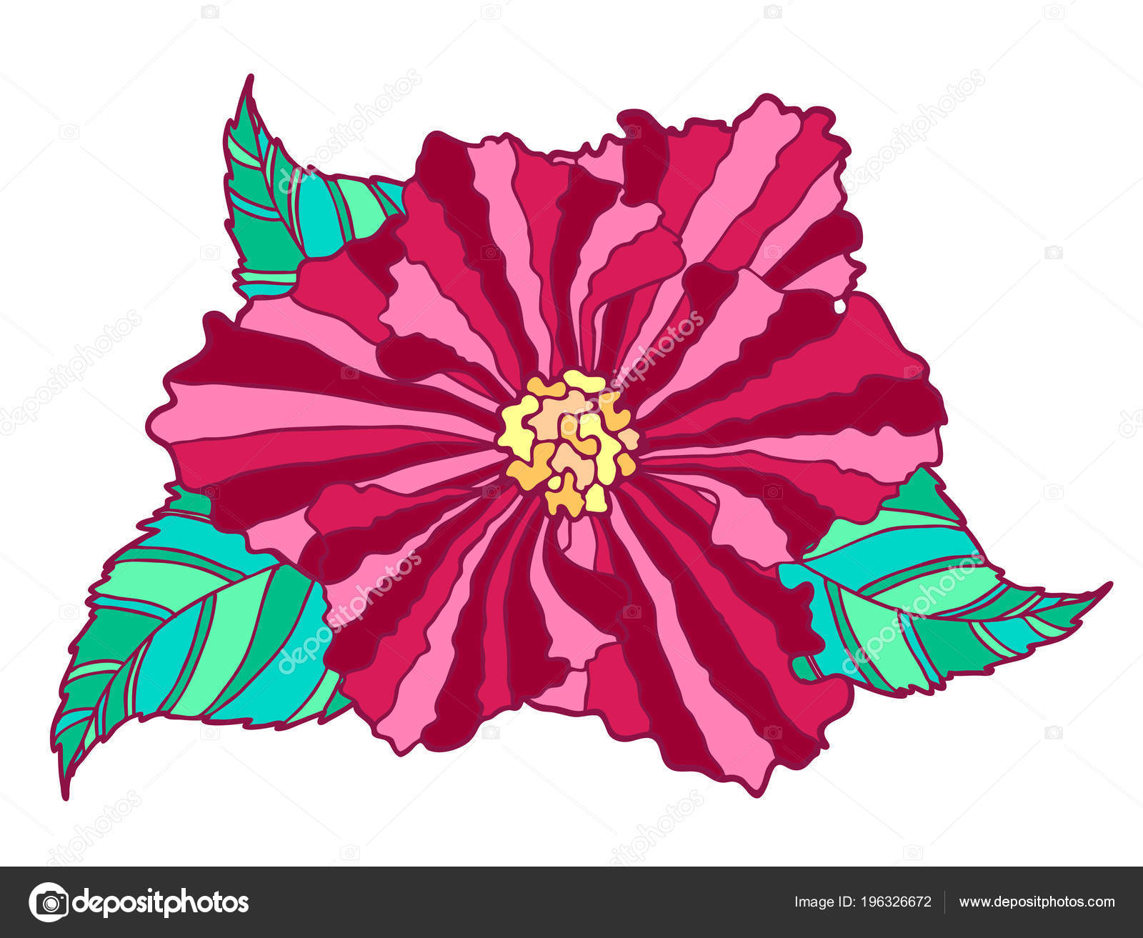 Dibujado Mano Cabeza Flor Roja Con Hojas Color Verde Aislados ...