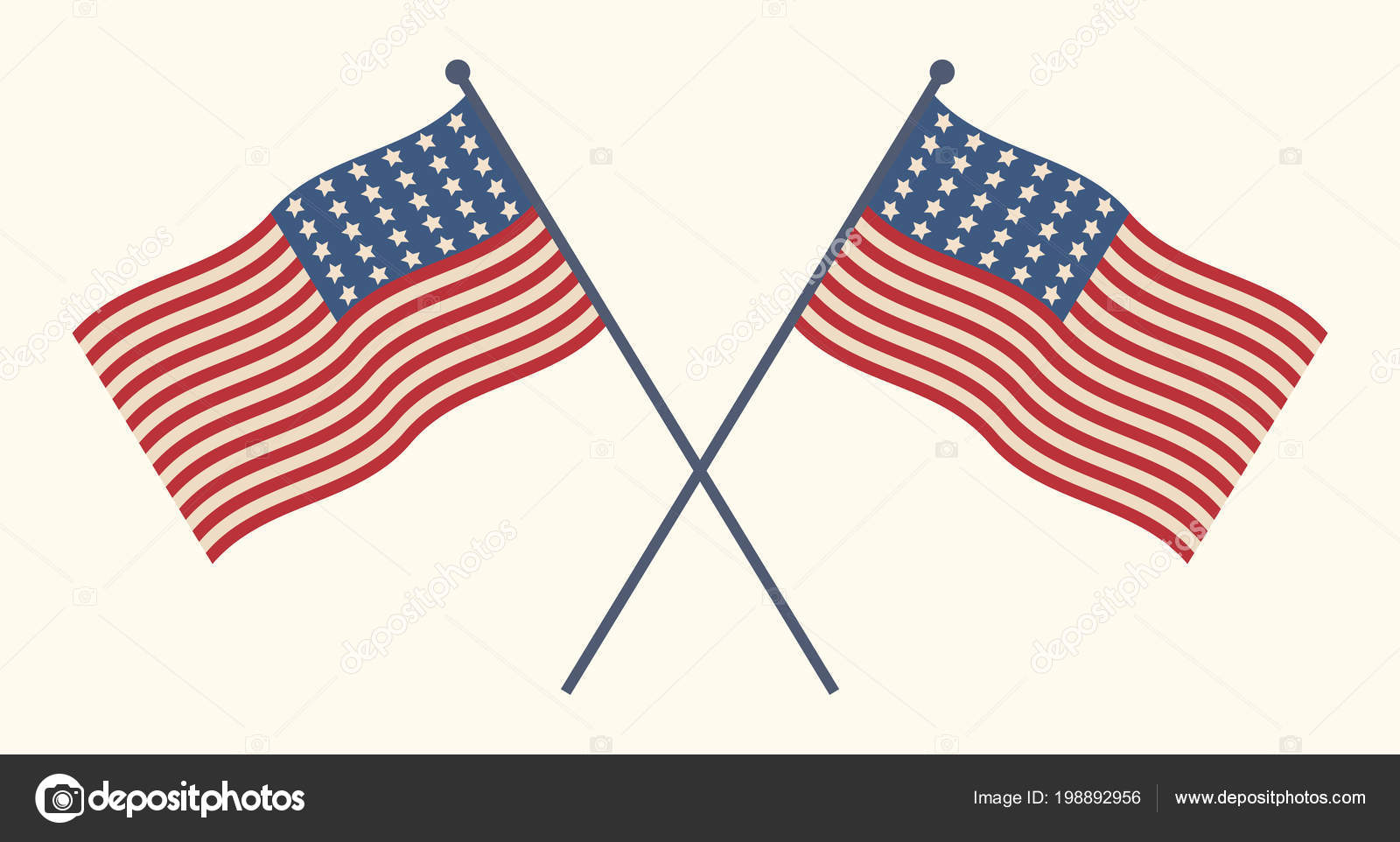 e41a4886fcf Two United States crossed flags patriotic illustration. American  Independence day design elements. Stars and stripes isolated over white.