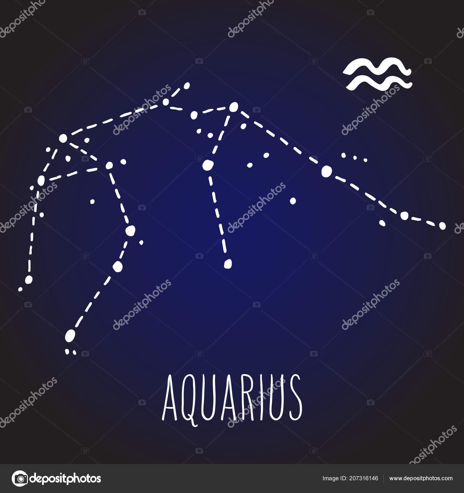 Aquarius Hand Drawn Zodiac Sign Constellation White Dark
