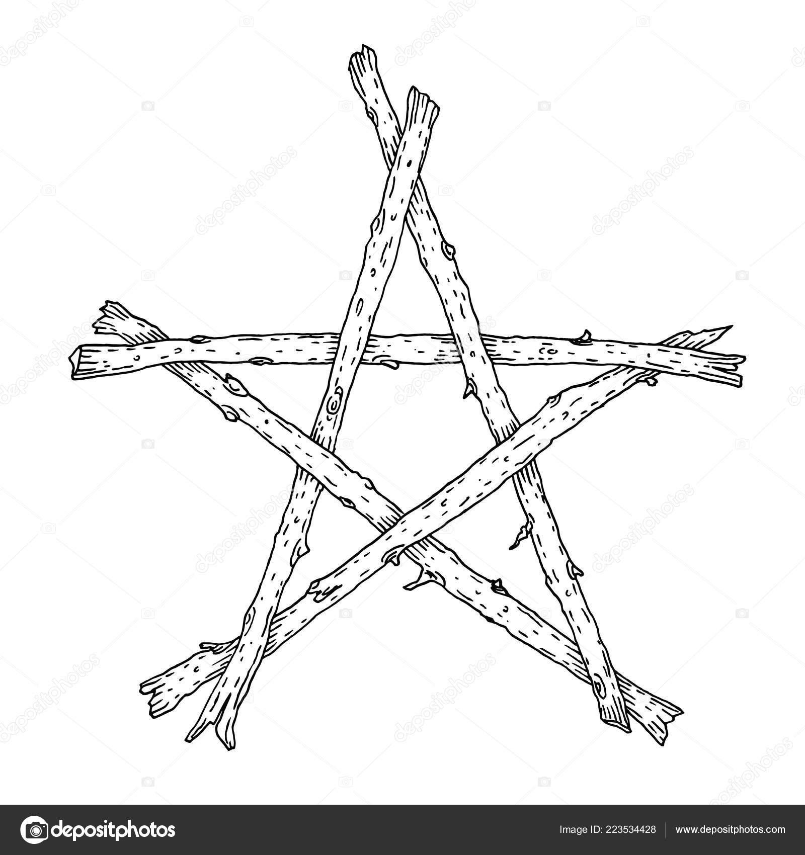 Hand Drawn Wooden Sticks Pentagram Icon Magic Occult Wicca Star