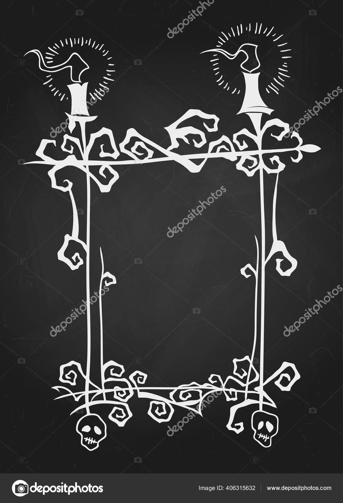 Ornate Blank Frame Glowing Candles Hand Drawn Halloween Celebration Design Stock Vector C De Kay 406315632